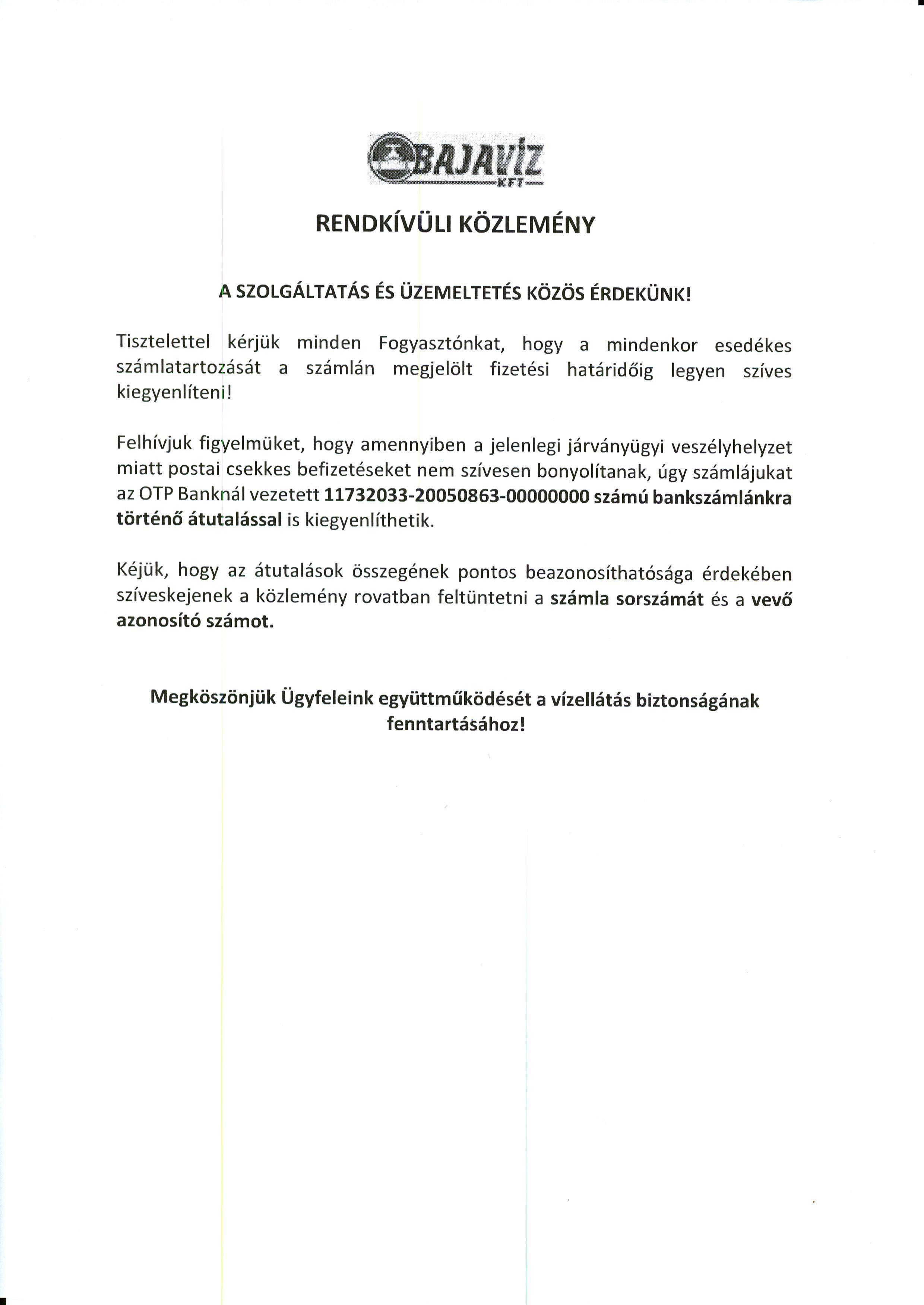 Bajavíz Kft. Rendkívüli Közleménye