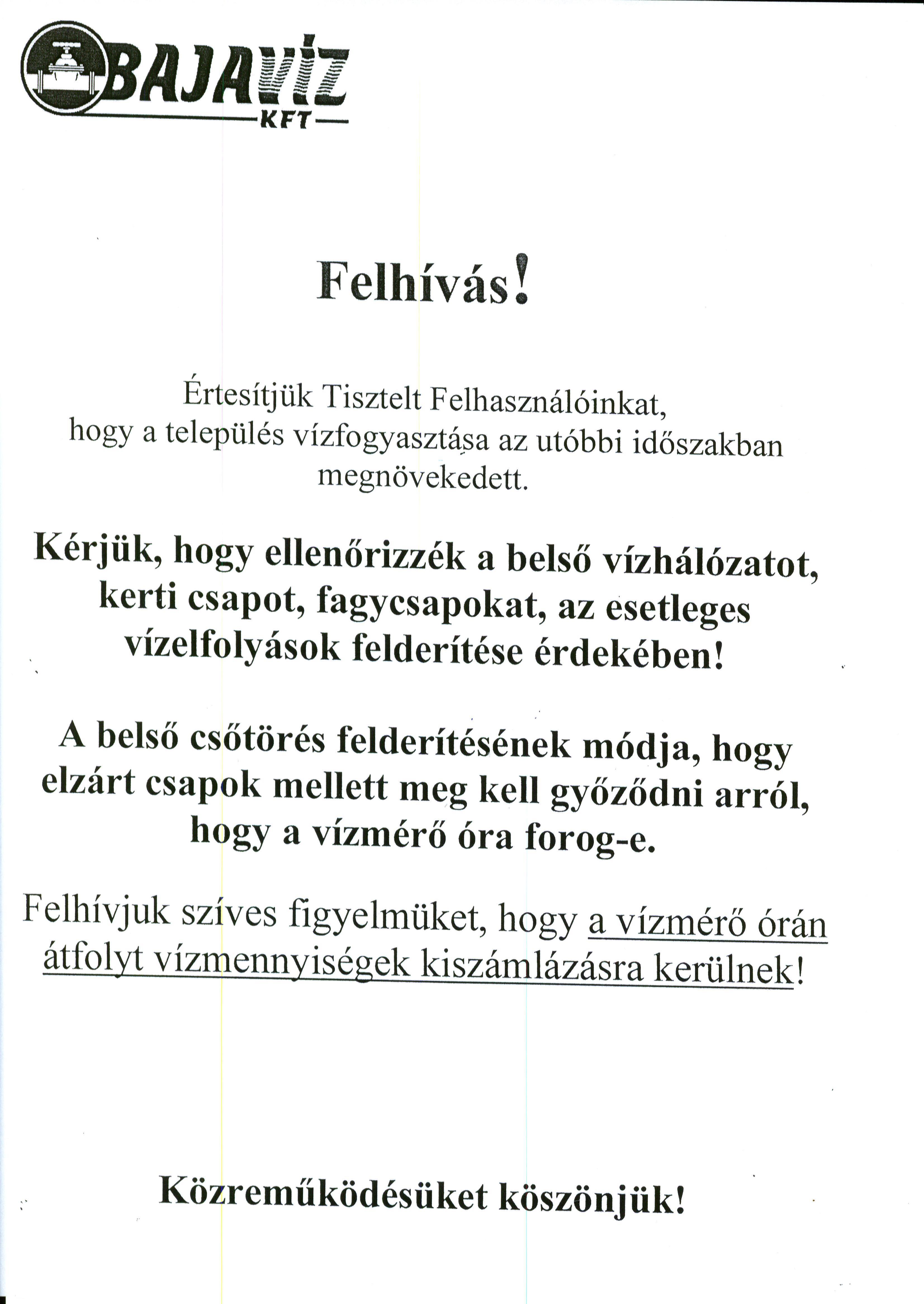 FELHÍVÁS
