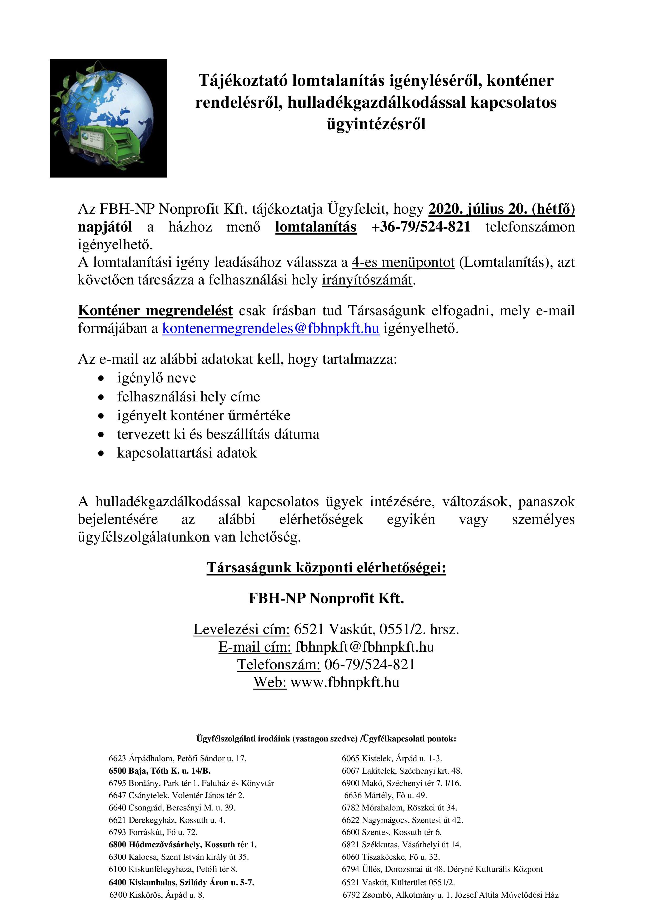 Tájékoztatás lomtalanítás változásról 07.20