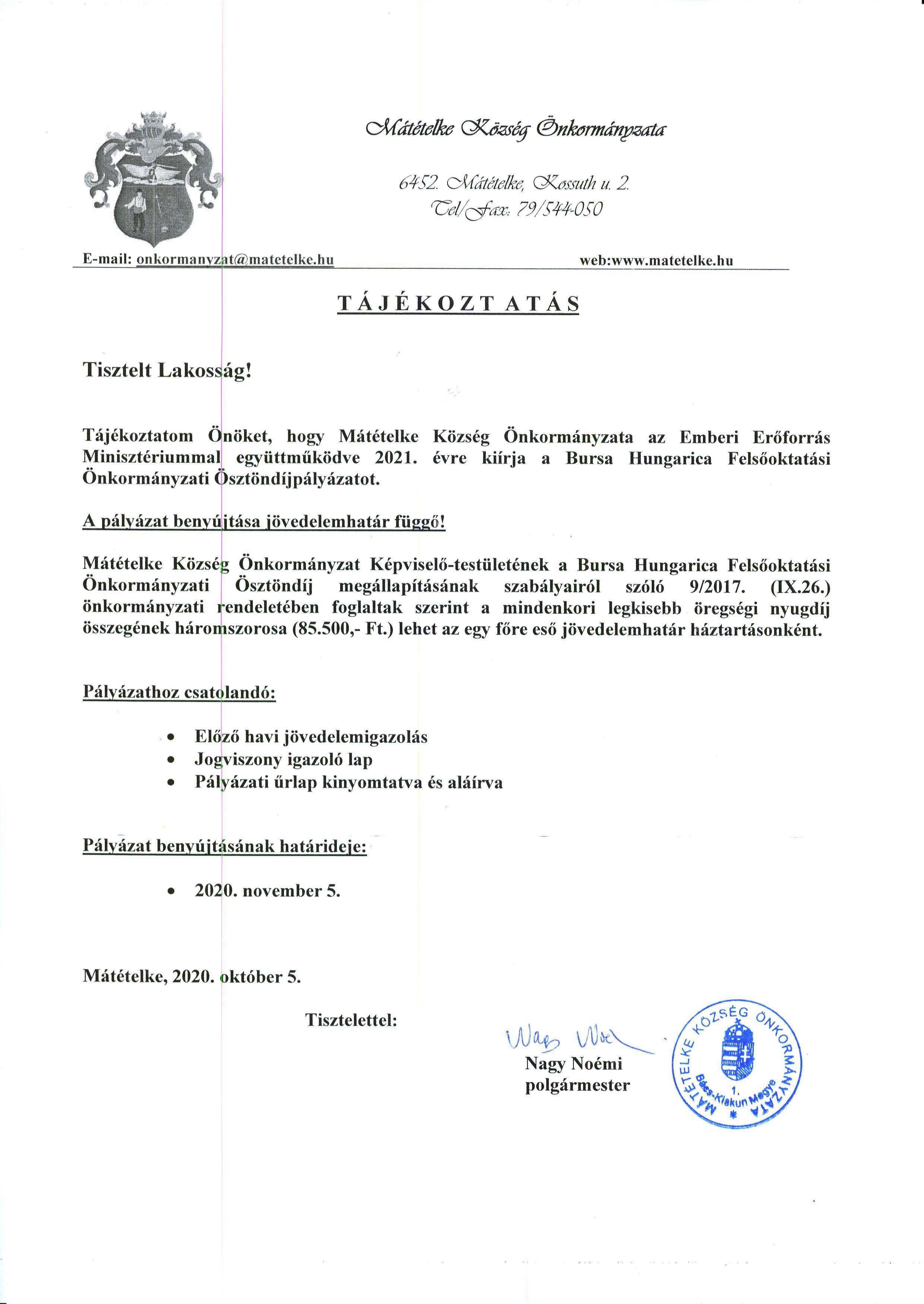 Tájékoztató - Bursa
