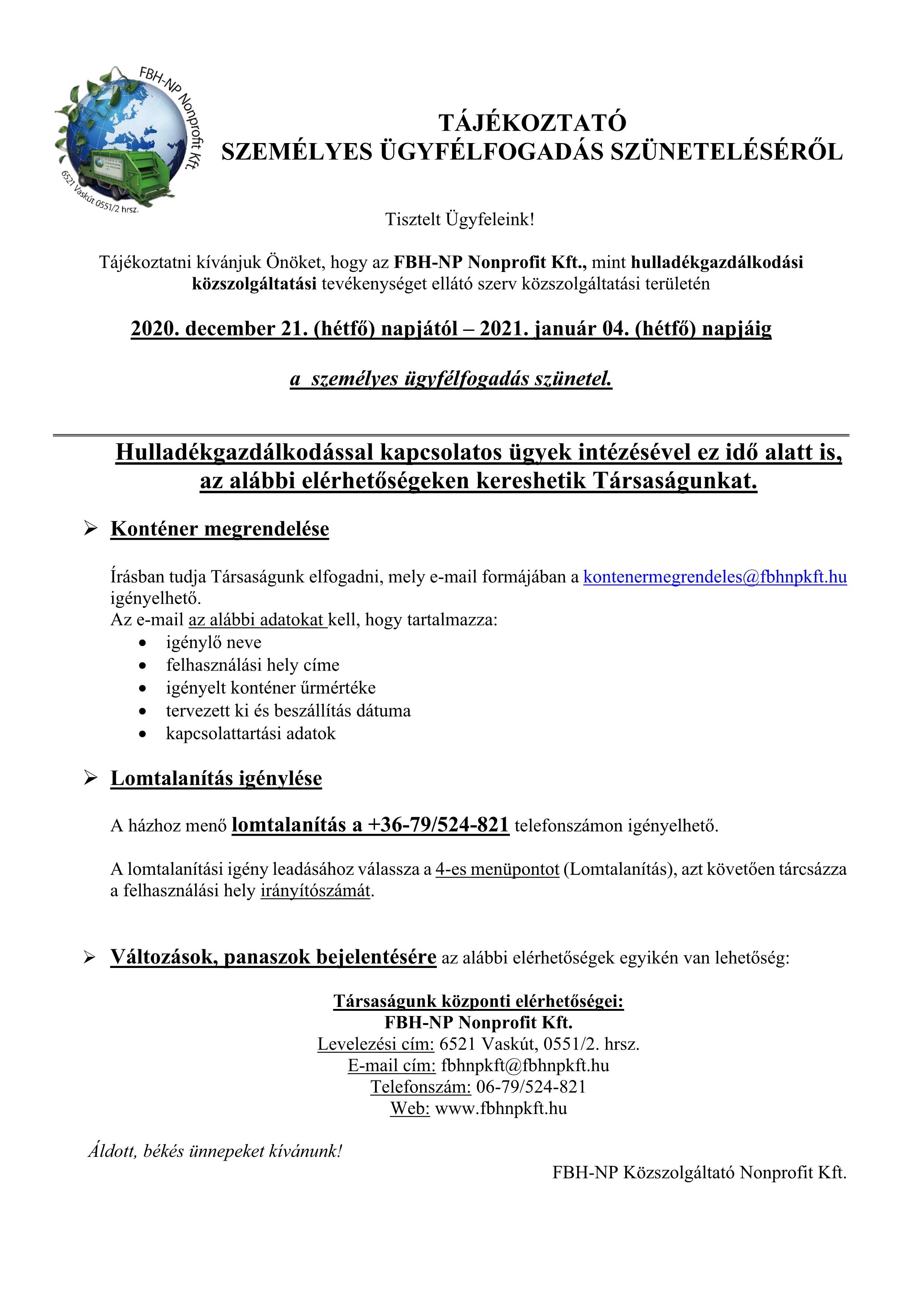 Ügyfélszolgálati szünet 2020.12.21-től_1-1
