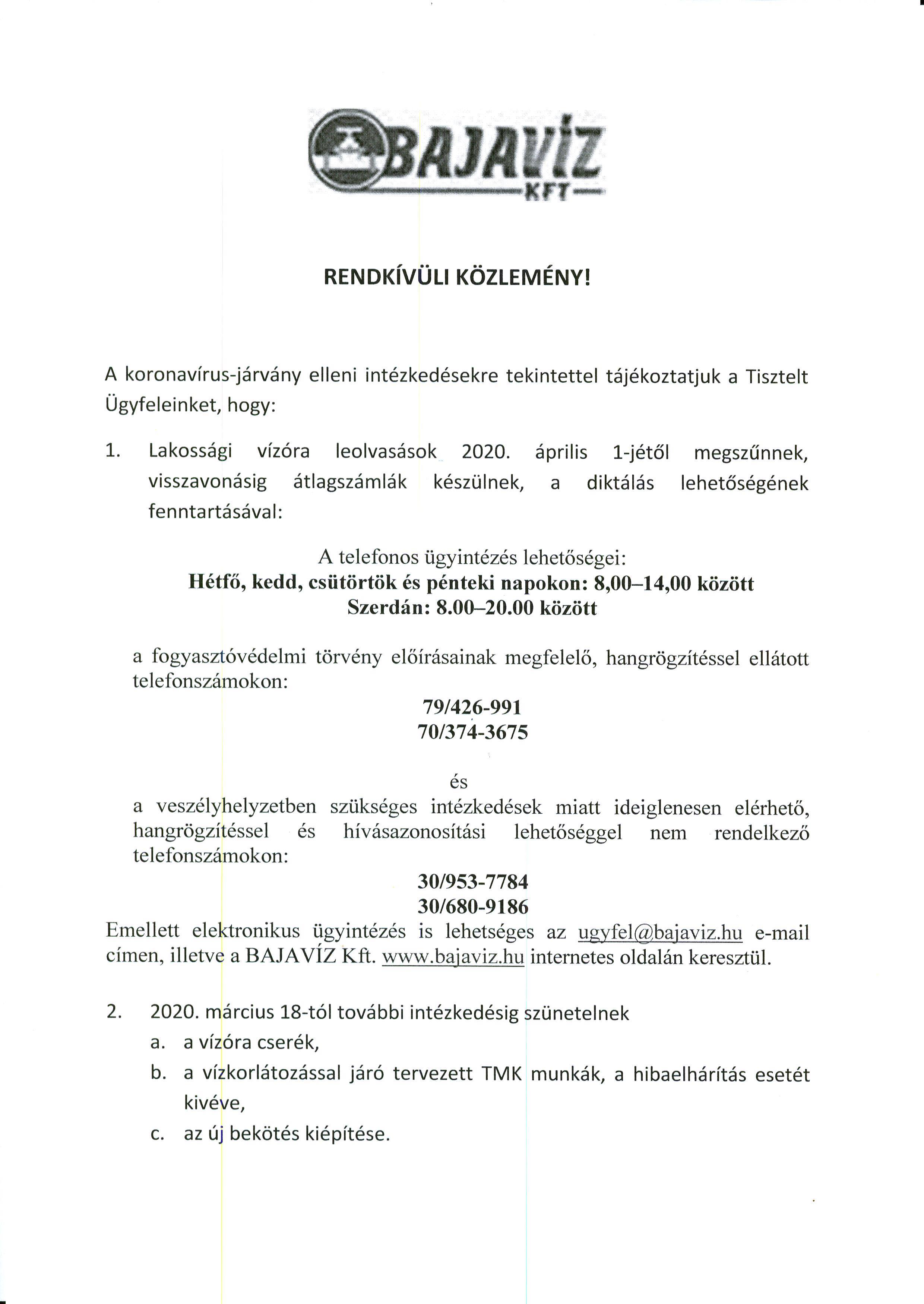 Bajavíz Kft. Rendkívüli Közlemény