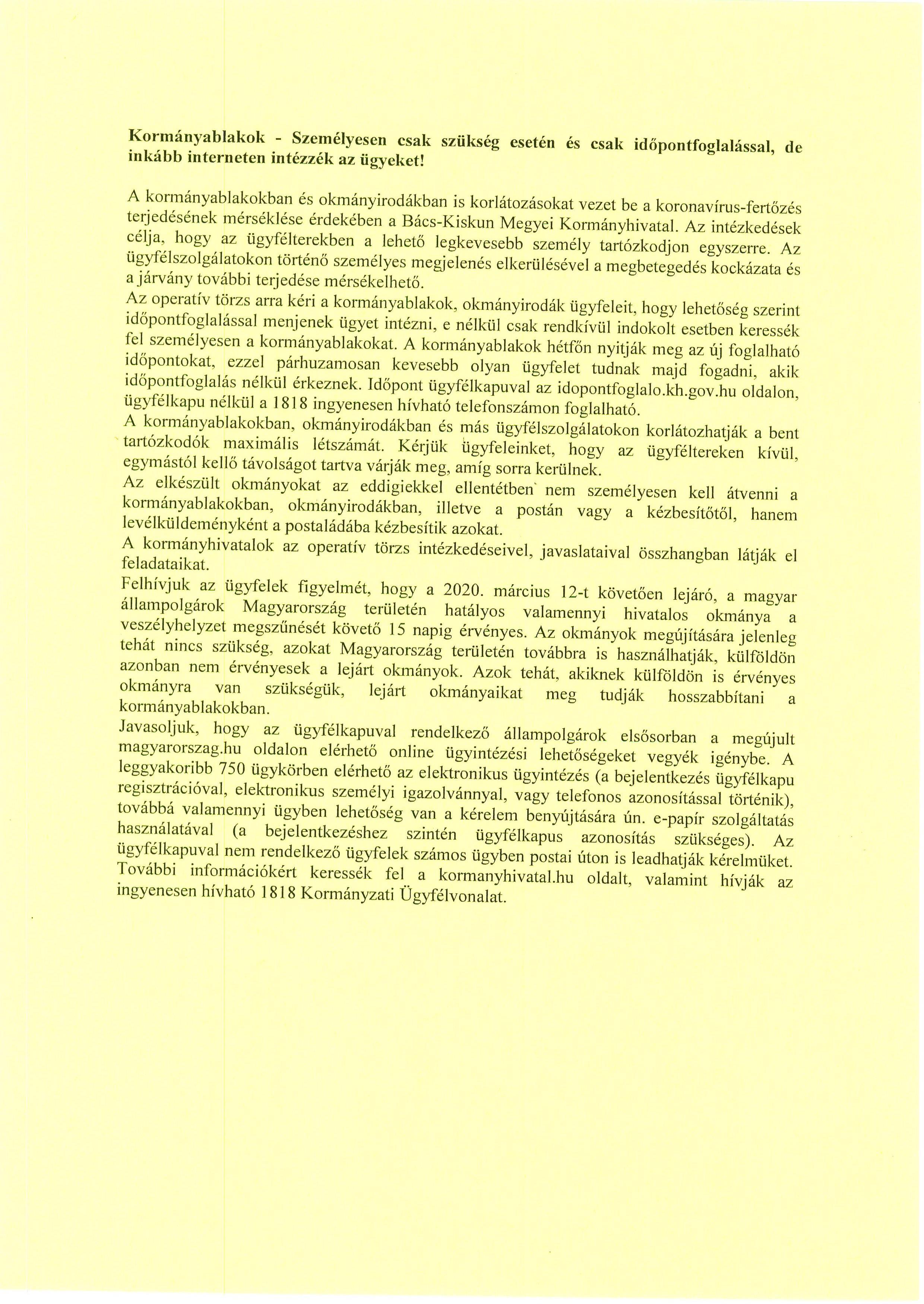 KORMÁNYHIVATAL TÁJÉKOZTATÁS.2