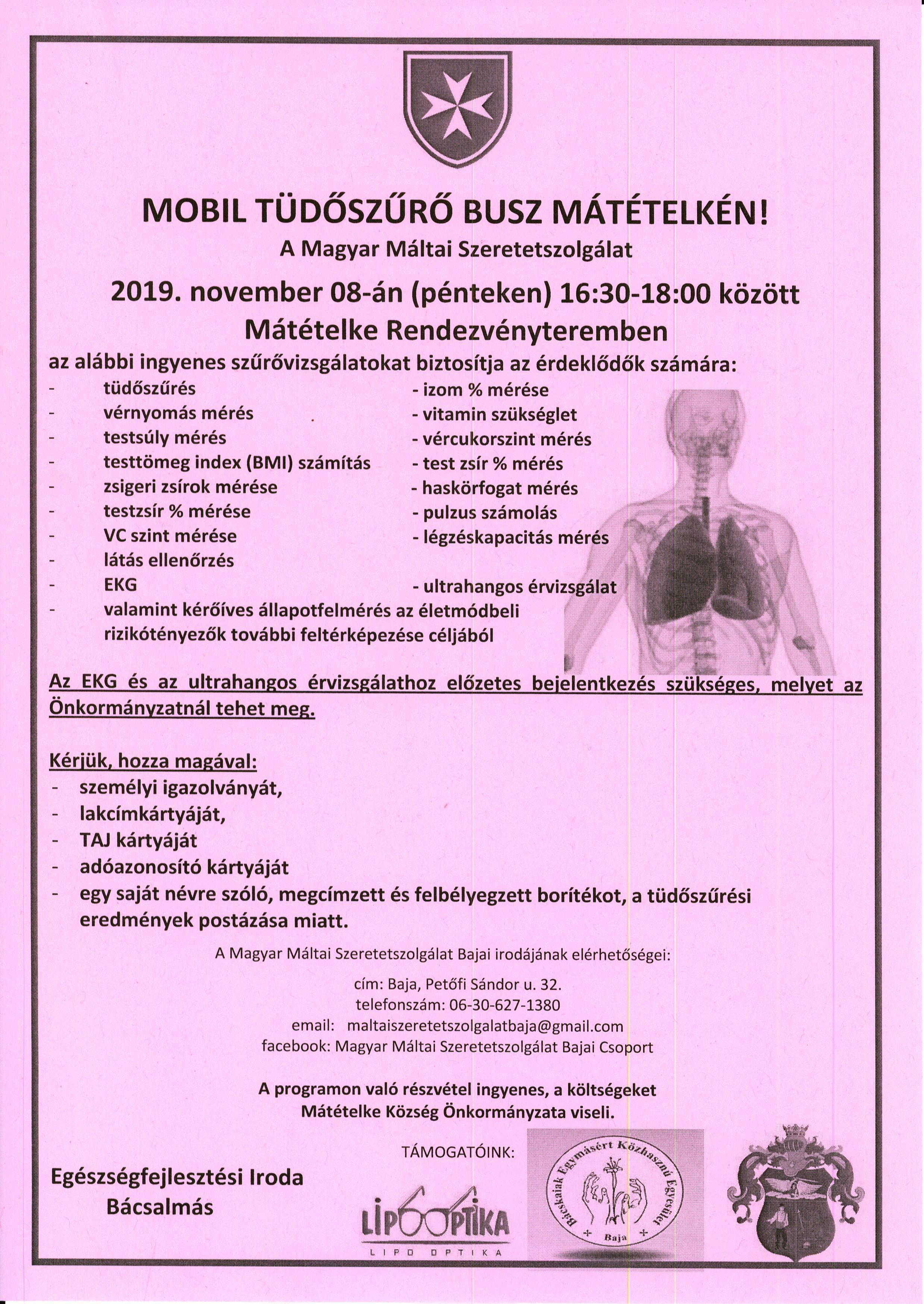 Mobil Tüdőszűrő Busz Mátételkén