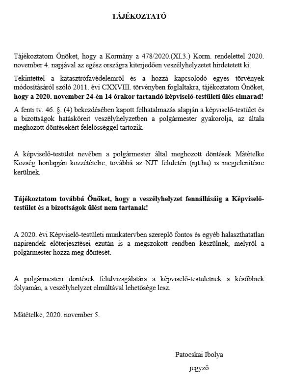 Polgármesteri tájékoztató KT