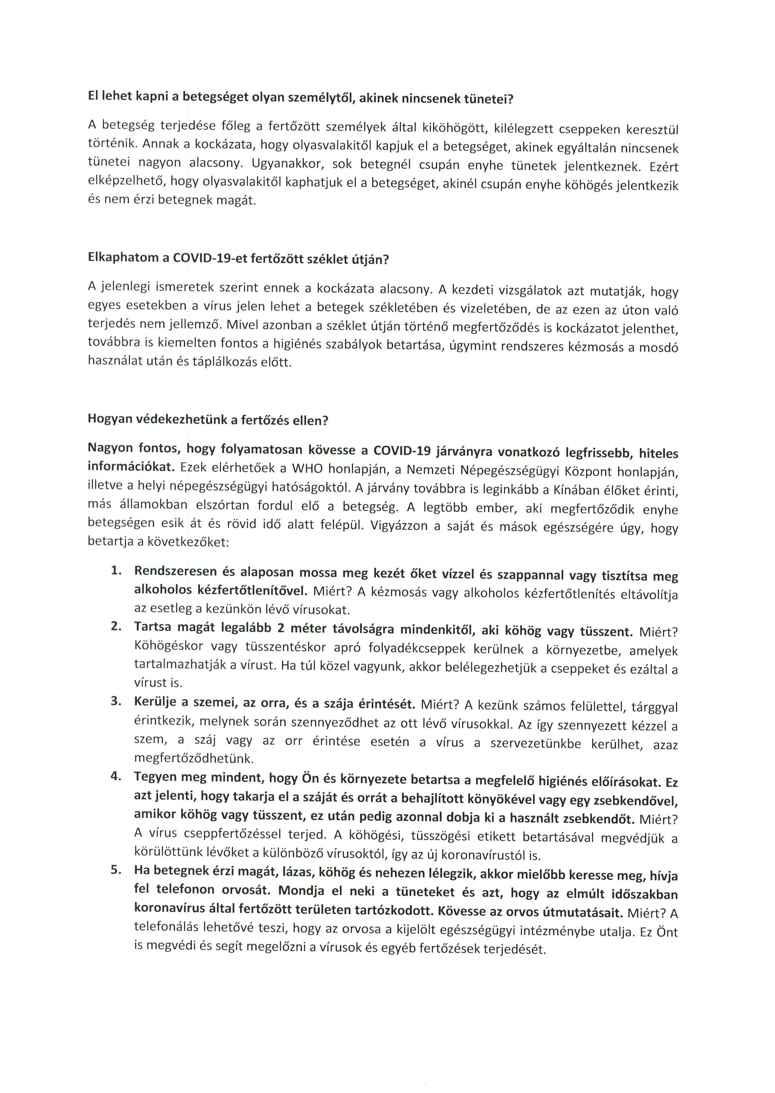TÁJÉKOZTATÓ a COVID-19-koronavírussal kapcsolatosan.2