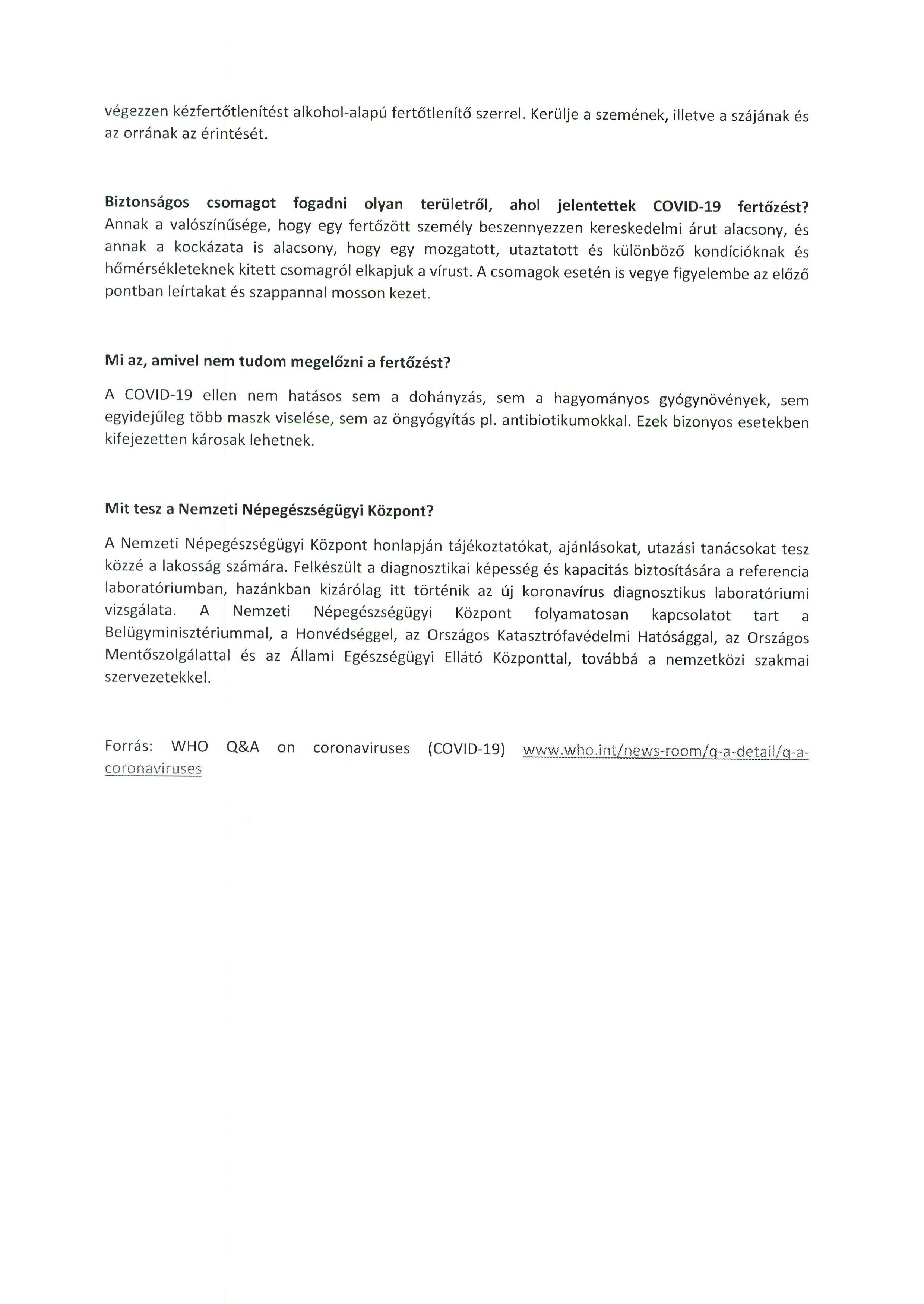 TÁJÉKOZTATÓ a COVID-19-koronavírussal kapcsolatosan.4