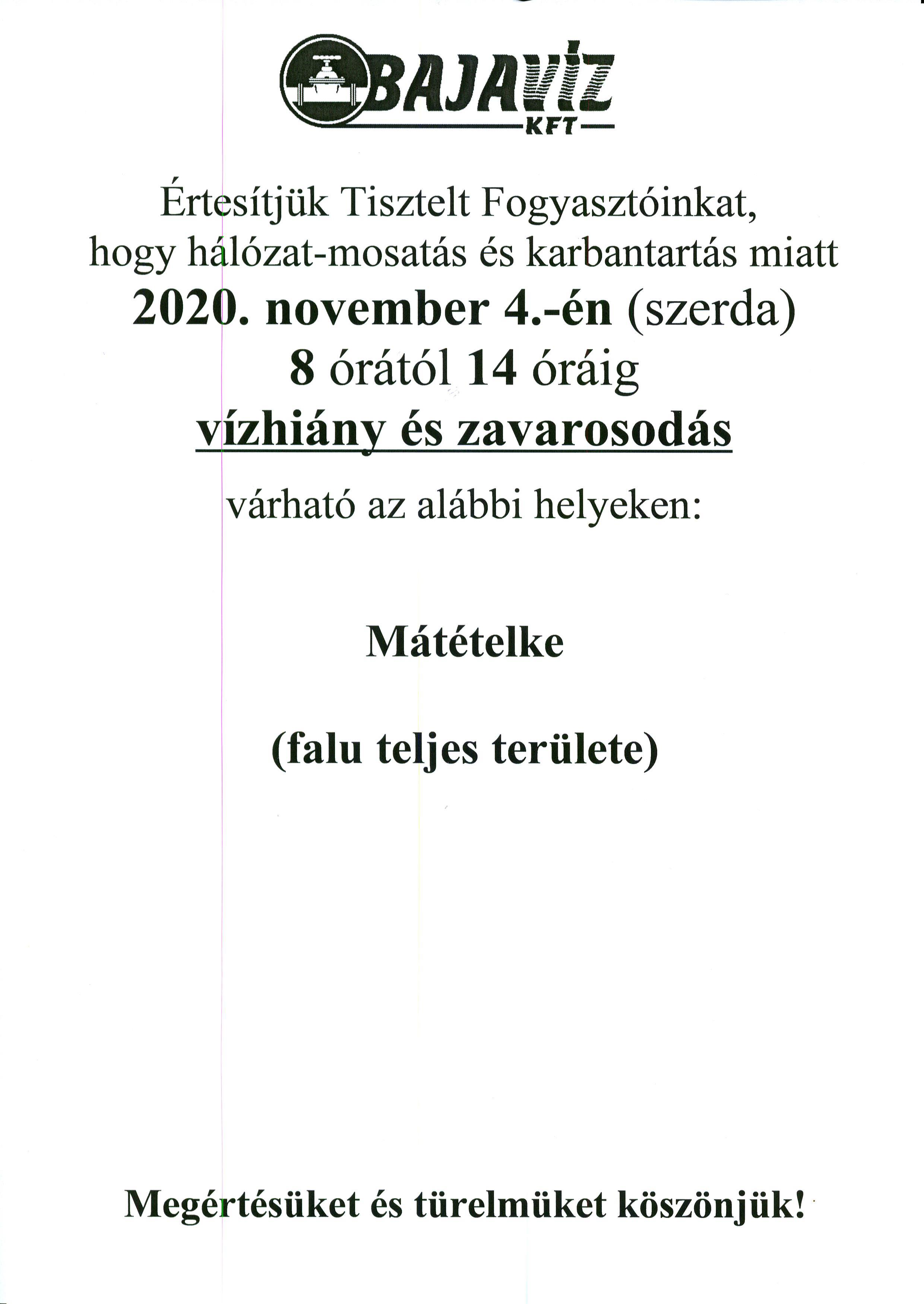 Tájékoztatás - Bajavíz Kft.