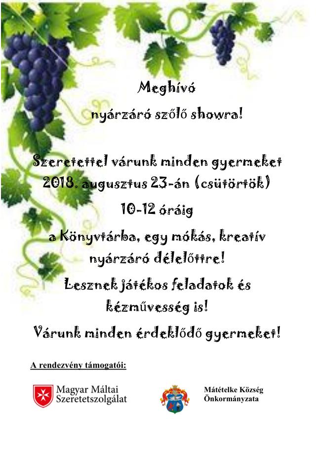 meghívó szőlő showra